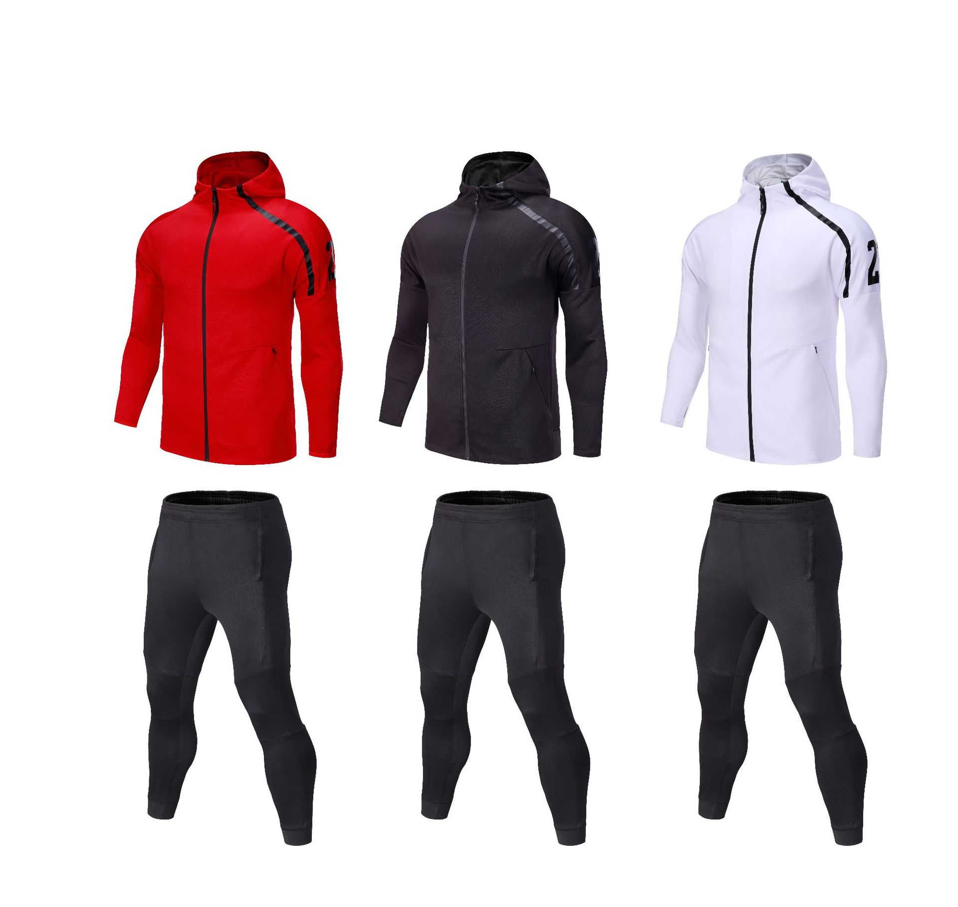 Basketball Sports Set Men's Autumn And Winter College Student Long Sleeve Night Running Fitness Suit Customizable Casual Footbal