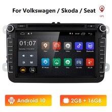 سوبر مبيعات أندرويد 10 جهاز تشغيل أقراص دي في دي بالسيارة لاعب ل Volkswagen/جولف/بولو/تيجوان/باسات/b7/b6/سيات/ليون/سكودا/اوكتافيا راديو دعم DAB +
