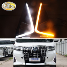 2pcs For Toyota Alphard 2018 2019 Daytime Running Lights Daylight Fog Lamp LED DRL with Turn Signal Functions