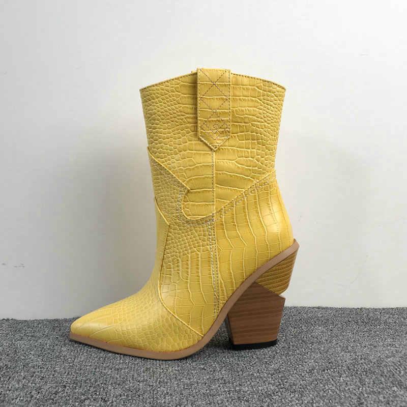 2019 yarım çizmeler kadın kışlık botlar kama yüksek topuklu kovboy çizmeleri kadınlar için batı sarı beyaz leopar pembe mavi bayan botları