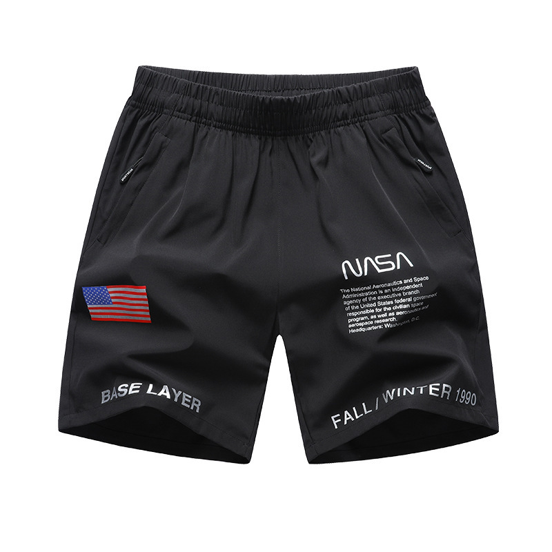 Men Fitness Sports Casual Shorts Men's Large Size Plus-sized Loose-Fit Youth Short NASA Joint
