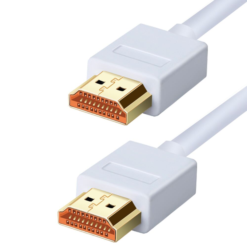 Ultra Slim Profile White HDMI Cable 1m 2m 3m 5m 10m High Speed with Ethernet Supports HDMI version 1.4, 1.4a, 1.3 compatible