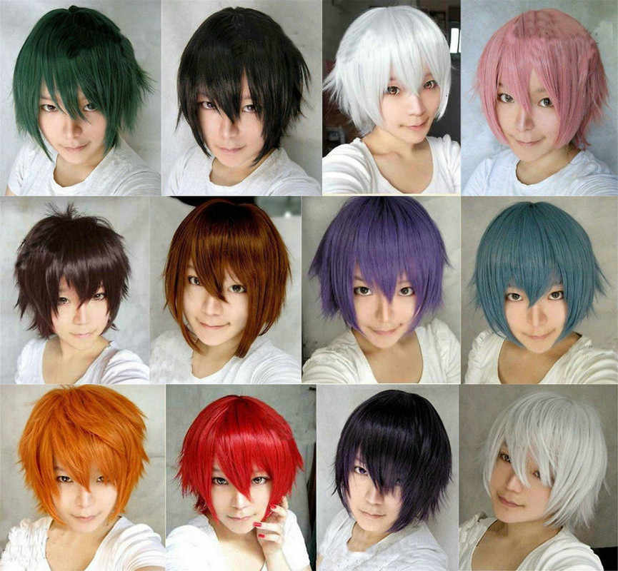 Anime Cosplay Wig Men Short Straight Purple Brown White Blue Costume Synthetic Hair Cos Wigs Peruca Pelucas