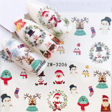 1 Sheet Xmas Designs Nail Sticker Christmas Snowflake Flower Water Transfer Cartoon Elk Ring Bell DIY Foil Wraps Tips Decoration(China)