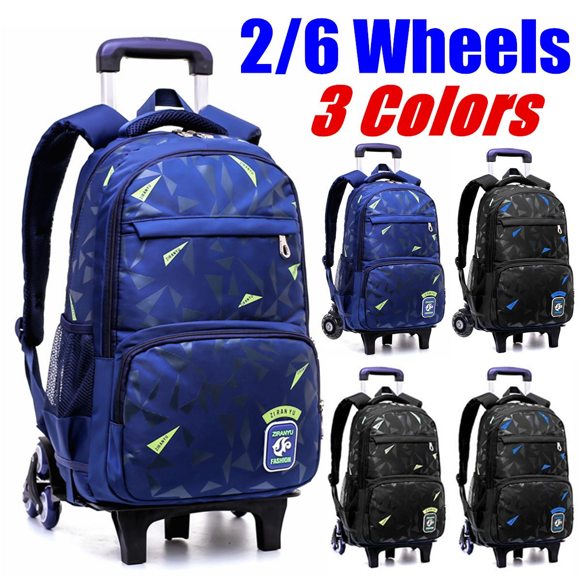 2019 NEW  Waterproof Removable Children School Bags With 2/6 Wheels  Stairs Kids Trolley Schoolbag Book Bags Boys Girls Backpack