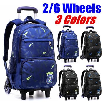2019 NEW  Waterproof Removable Children School Bags With 2/6 Wheels Stairs Kids Trolley Schoolbag Book boys girls Backpack - discount item  39% OFF School Bags