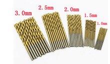 Ensemble de forets en acier HSS à haute vitesse et torsion pour bois et plastique, titane revêtu de 1.0mm 1.5mm 2.0mm 2.5mm 3.0mm, 50 pièces