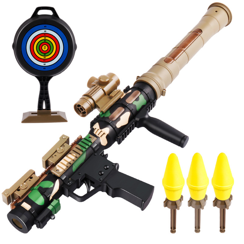 Children's Rocket Toy Lights Sound Effect Shooting Toy Howitzer Military Model Jedi Chicken Toy Mortar Bazooka For Kids Gifts