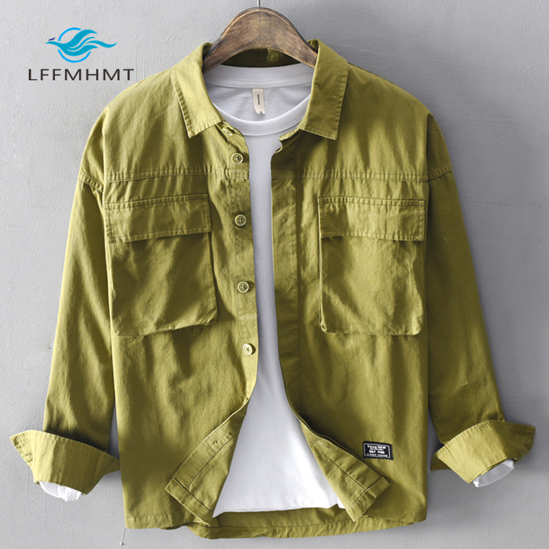 Men Spring Autumn Fashion Japan Style Vintage Solid Color Green Cotton Pocket Long Sleeve Shirt Male Casual Loose Shirt Cloth