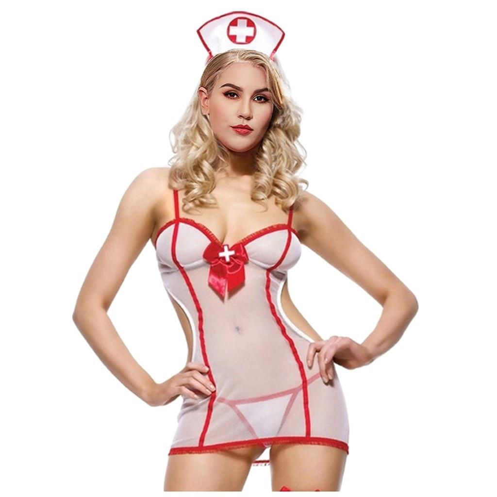 Cosplay Women Sexy Lingerie Hollow Backless Lenceria Porno Role Play Uniform Erotic Babydolls Underwear With Headband Plus Size