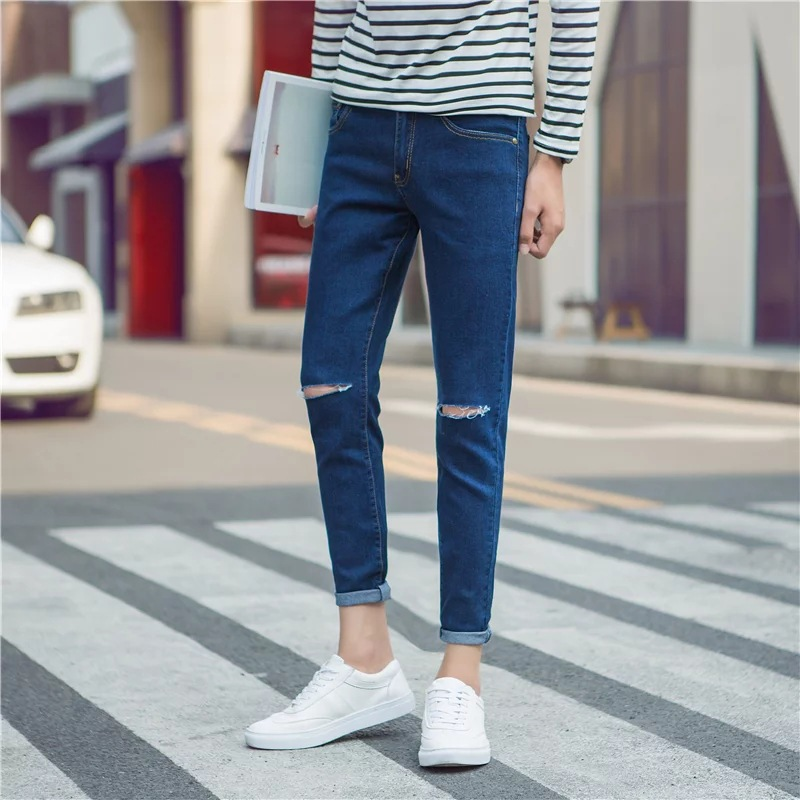 2017 New Style Korean-style Trend Skinny Pencil Jeans Men's Capri Skinny Pants