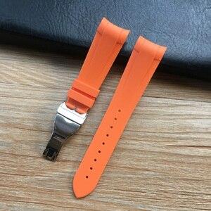 Image 5 - 22mm Zwart Blauw Rood Oranje Groen Gebogen End Zachte Siliconen Rubber Horloge Band Band met Zilveren Sluiting Voor tudor