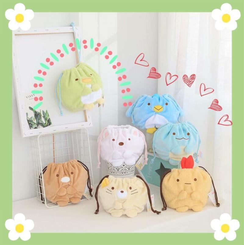Bag Drawstring Sumikko Gurashi Pocket Plush-Toy Soft-Storage Birthday-Gift Cartoon Cute