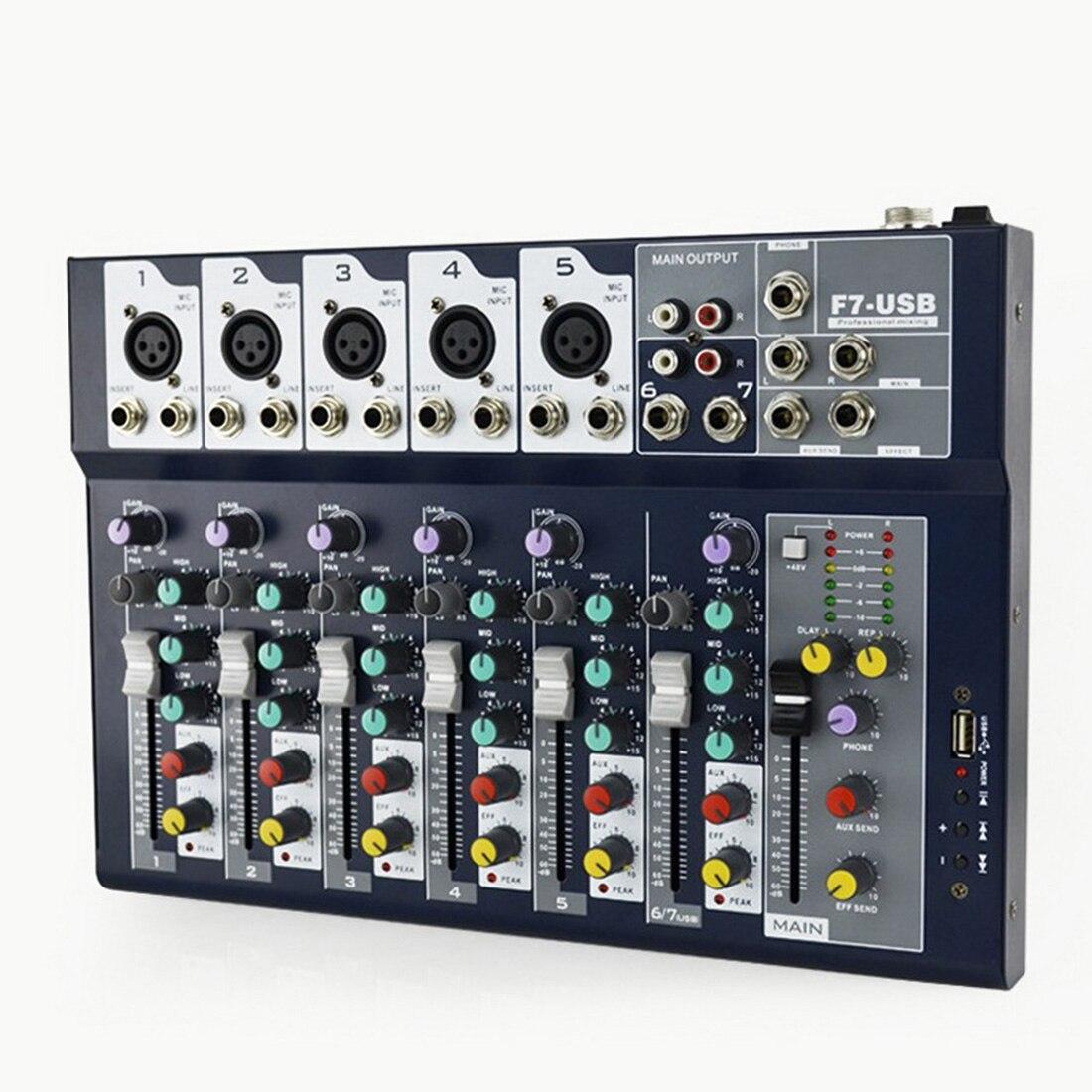 7 kanal DJ Ausrüstung Digital USB Kabel Professionelle Bühne Leistung Audio Mixer Sound Board Konsole Mischen Controller