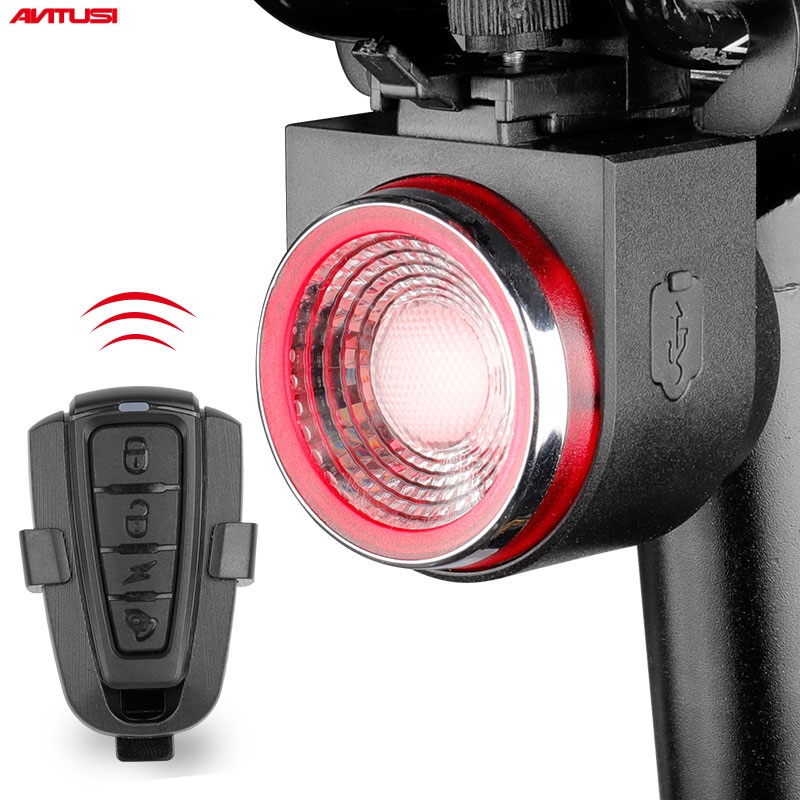 ANTUSI A8 Road Bike Anti-theft Alarm Lock Automatic Brake Cycling Taillight Remote Control Bicycle Rear Light MTB Wireless Bell