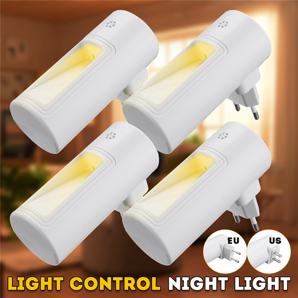 2 LED PIR Motion Sensor Night Light Bathroom Lamp Lighting Bulb Plug In US/UK/EU