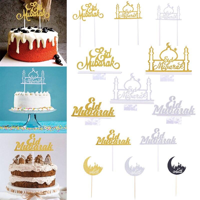 1/10pc ouro prata lua mesquita eid mubarak bolo topper ramadan festa cupcake topper decoração muçulmano assar bandeira suprimentos favor