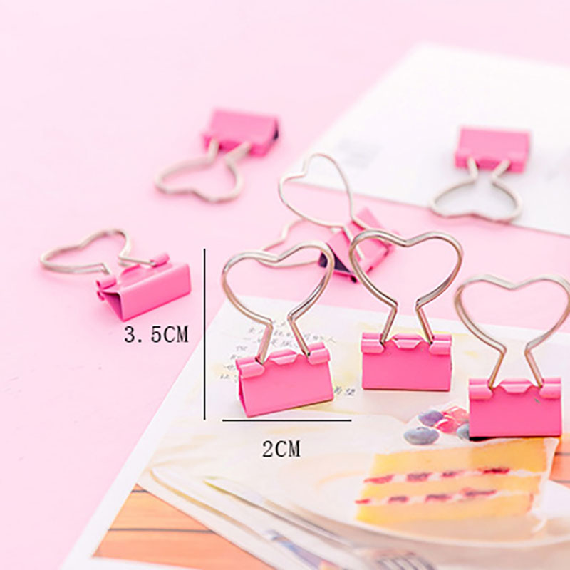 Cute Mini Pink Metal Clips Binder Paperclips Kawaii Heart Paper Clamp Photo Clip File Holder Message Memo Clip Stationery