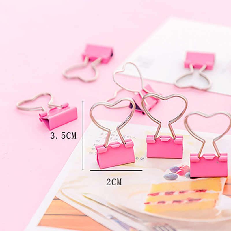 Nette Mini Rosa Metall Clips Binder Büroklammern Kawaii Herz Papier Clamp Foto Clip Datei Halter Nachricht Memo Clip Schreibwaren