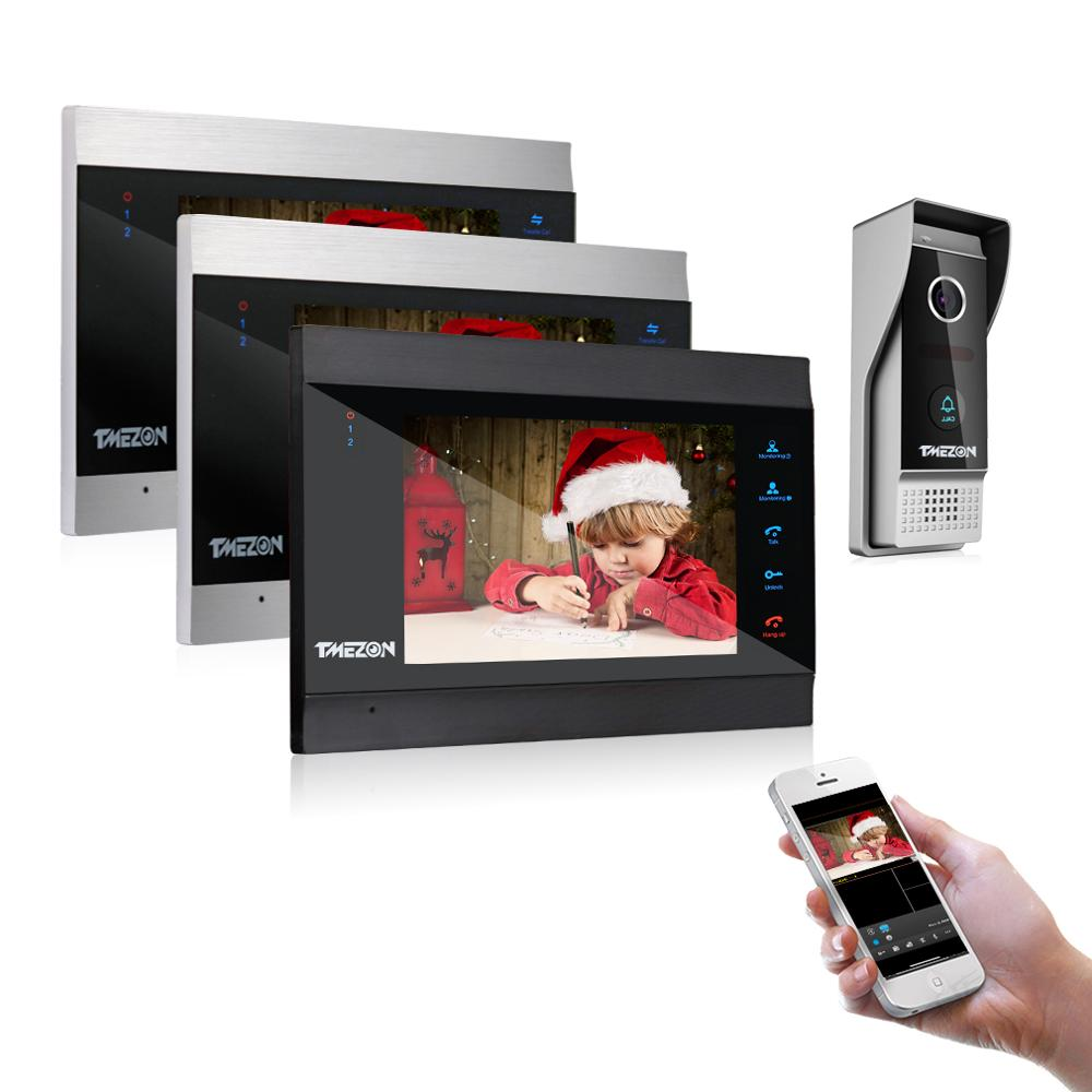 TMEZON 7 Inch Wireless/Wifi Smart IP Video Door Phone Intercom System With 3 Night Vision Monitor + 1 Rainproof Doorbell Camera