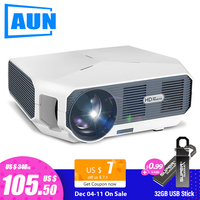 AUN ET HD MINI Projector, 1280x720P, Video Beamer. 3800 Brightness. 3D Cinema. Support 1080P,HD IN,USB(Optional Android Version)