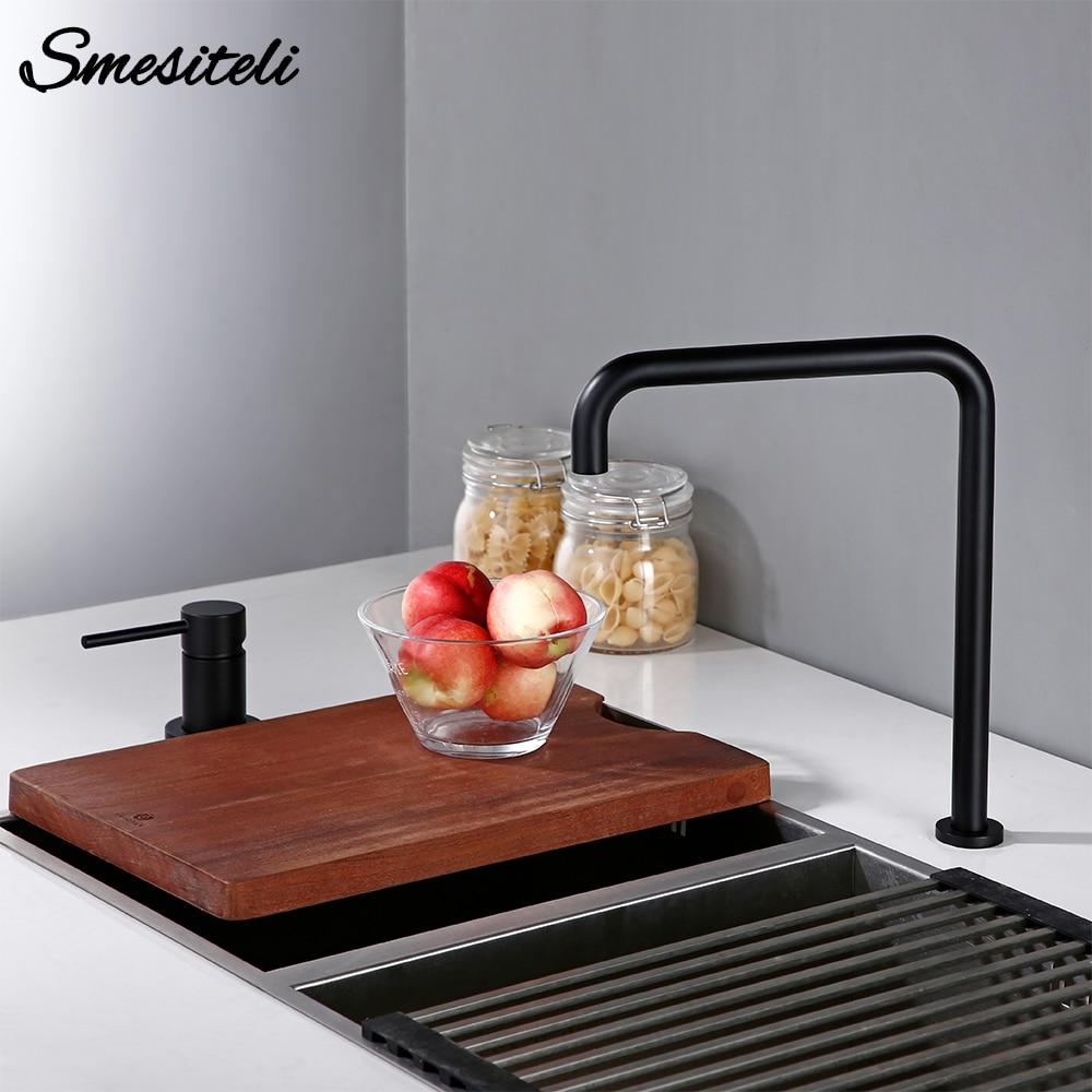 Smesiteli 360 Degree Swivle Kitchen Faucet Solid Brass Double Hole Single Handle Matt Black L-Shaped Kitchen Wash Basin Faucet