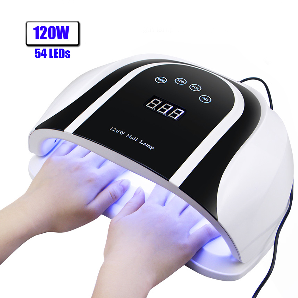 120W LED Nail Lamp For Manicure With 54pcs LED Beads 4 Timing Mode Quick-drying All Gel With Motion Sensing Nail Dryer