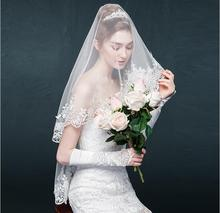 2019 New Short Lace Veil for Women Bridal Party One Layer Appliqued 150CM Length