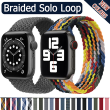 Fabric Braided Solo Loop Nylon Strap For Apple Watch SE 6 Band 44mm 40mm 38mm 42mm Elastic Bracelet for iWatch Series 5 4 3 cheap CN(Origin) 22cm Watchbands New with tags 200001557
