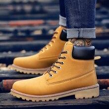 Мужской осень-зима обувь ботильоны; Ботинки из ПУ-кожи; Мужские ботинки камуфляжные военные сапоги пара ботильоны; Обувь желтого цвета;