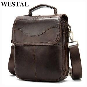 Image 1 - WESTAL Bolso de hombro de piel auténtica para hombre, bandolera vintage, diseño de bolsos, 8558