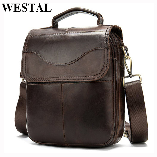 WESTAL Bolso de hombro de piel auténtica para hombre, bandolera vintage, diseño de bolsos, 8558