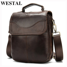 WESTAL Mens shoulder bag for men oil genuine  leather small handbag vintage messenger mens crossbody bags design male bag 8558