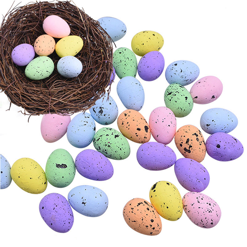 20Pcs 4cm Foam Egg Toy Easter Eggs Decorations Bird Pigeon Eggs DIY Happy Easter Decoration Party Easter Gift Favor Home Decor