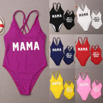 2019 Summer New Arrival Family Matching Letter Swimsuit Mother Daughter MAMA Print Bandage Mom And Kid Swimwear Sets image