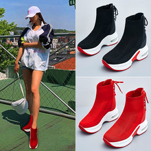 Exquisite high elastic stockings womens boots platform sneakers high to help socks shoes breathable womens vulcanized shoes