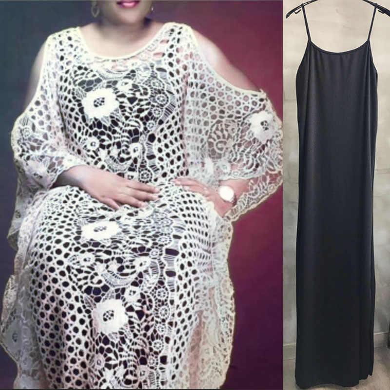Vestidos africanos de talla grande para mujer Dashiki moda encaje soluble en agua falda suelta bordado Floral vestido largo Boubou Africain