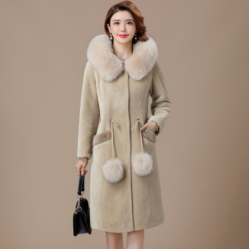Autumn Winter Coat Women Clothes 2020 Real Fur Coat Fox Fur Collar 100% Wool Jacket Korean Sheep Shearling Suede Lining ZT3497