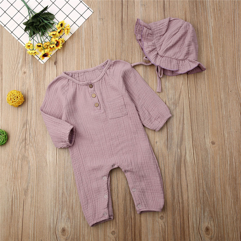 Solid Color Newborn Bodysuits Set White Pink Yellow Long Sleeve Baby Girls Rompers Button Jumpsuits Hats
