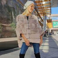 TOPFUR 2019 Winter Mantel Frauen Echtpelz Mantel Mit Zipper Leder Jacke Frauen Rex Kaninchen Pelzmantel Rex Kaninchen Pelz pullover Jacke