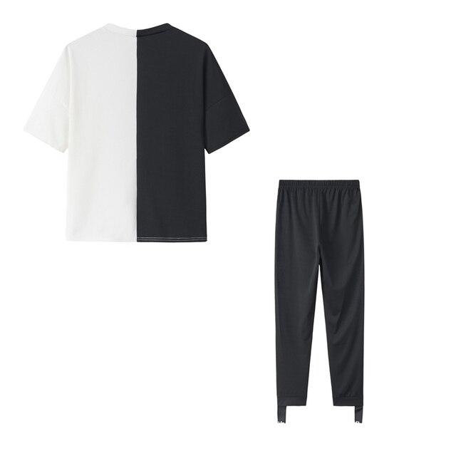 Letter Print Off Shoulder Tracksuit Women's Set Two Piece Sets Short Sleeve Colorblock Top and Pants Suit Summer Long Pants Sets 6