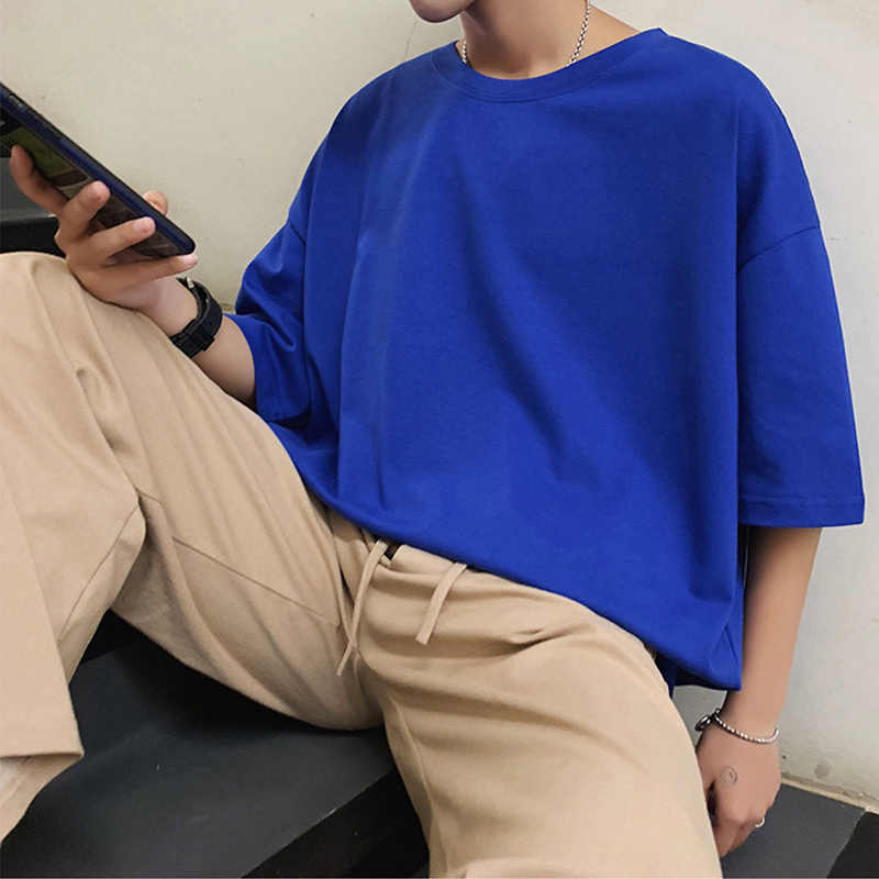 읽기 쉬운 2020 여름 티셔츠 남자 솔리드 Streetwear 망 느슨한 캐주얼 반소매 티셔츠 남성 티셔츠 남자