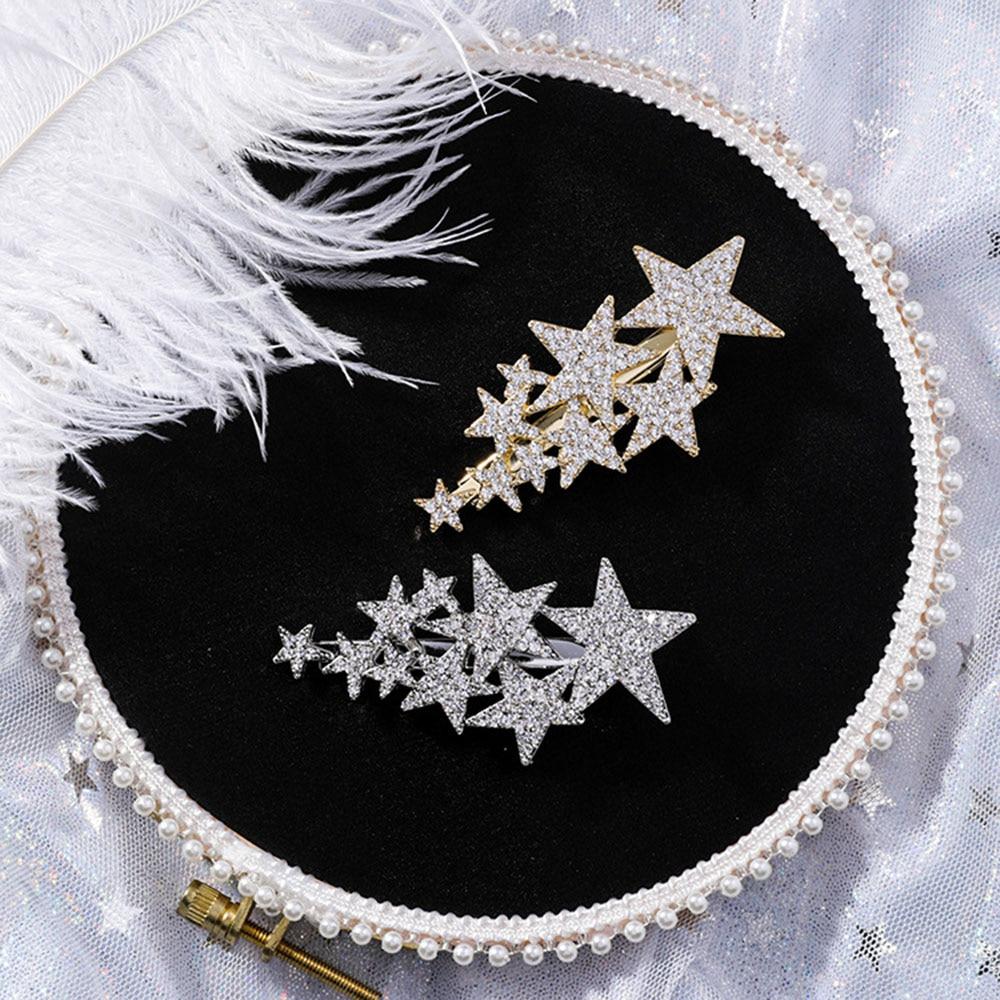 New Shiny Star Barrettes Rhinestone Hairpins Hair Clip Sweet Headwear Hair Grip Hair Accessories For Women Girl Wedding