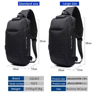 Image 2 - OZUKO Multifunction Crossbody Bag for Men Anti theft Shoulder Messenger Bags Male Waterproof Short Trip Chest Bag Pack New