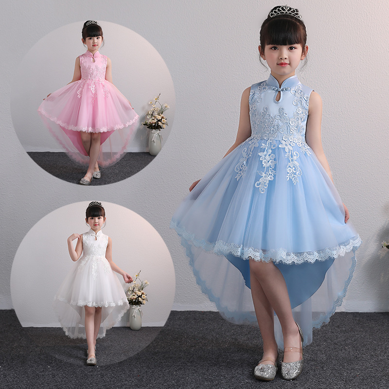 CHILDREN'S Full Dress Summer New Style Tailing Princess Dress Girls' Shirt Baby Skirt Flower Boys/Flower Girls Young STUDENT'S C