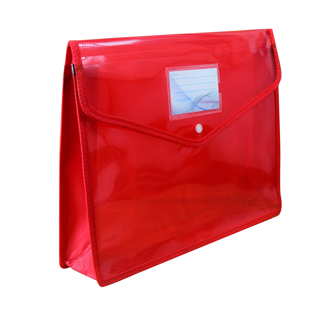 A4 Large Capacity Button Test Paper File Bag Portable Waterproof Office Transparent Document Holder Storage School Thickened