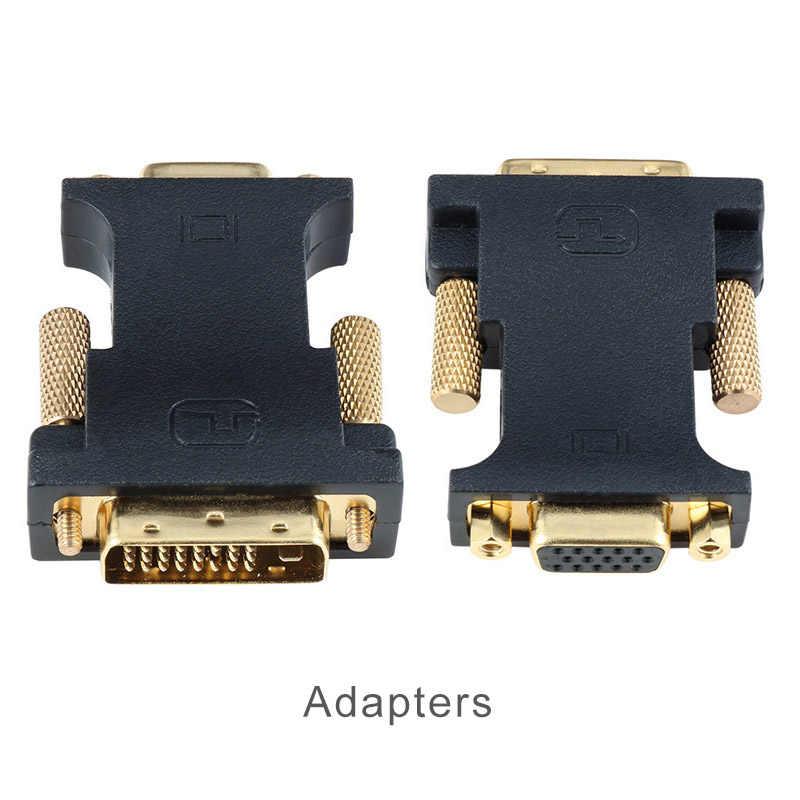 DVI-D 24 + 1 TO VGA 15Pin HDTV Wanita Monitor Adaptor Konektor Kabel Datar Xk88