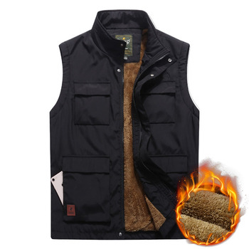 Men's Winter Vest Thicken Fleece Multi Pocket Waistcoat Casual Warm Mandarin Collar Photographer Sleeveless Jacket Plus Size 5XL Others Men's Fashion