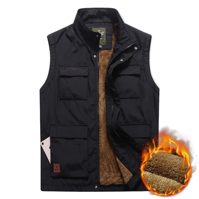Men's Winter Vest Thicken Fleece Multi Pocket Waistcoat Casual Warm Mandarin Collar Photographer Sleeveless Jacket Plus Size 5XL Others Men's Fashion
