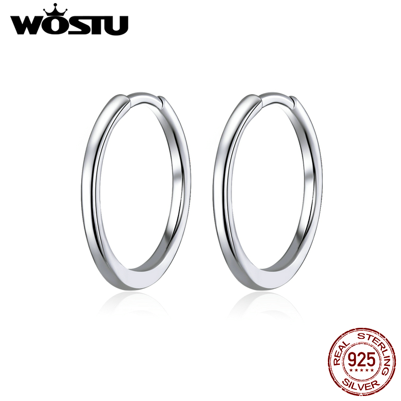 WOSTU Authentic 925 Sterling Silver Simple Circle Hoop Earrings Fit For Letter Charms DIY Earrings Fashion Jewelry CQP035